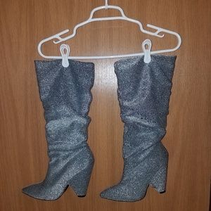 Silver Slouch Boots
